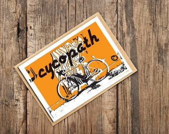 Cycopath Blank Card, Card for Cyclists, Bicycle Card