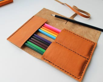 Leather Pencil Case Roll , Tool Roll, Brush Roll, Art Wrap, Makeup Roll, Bike tool Roll, Pencil Organiser, Back to School, organize