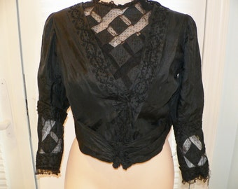 Victorian 1900 Black Silk Bodice with Lace