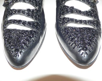 Edwardian Black Beaded Side Button Shoes with Louis Heel - wearable Size