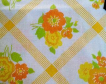 Vintage Orange Floral Sheet Unused Twin