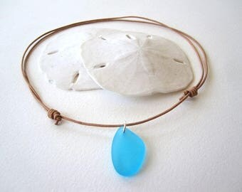 Sea Glass Necklace, Beach Glass Necklace, Surfer Necklace, Sea Glass Choker, Surfer Choker, Leather Choker Necklace, Aqua Sea Glass