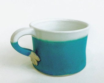 Hand Thrown Pottery Small Mug Turquoise. Coffee/tea cup. In stock