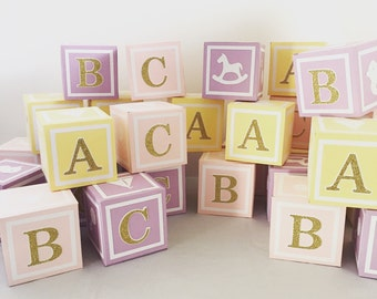 Large(4.5 in) Custom  Alphabet Blocks, Baby Shower Decorations, 4.5 inches x 4.5 inches x 4.5 inches