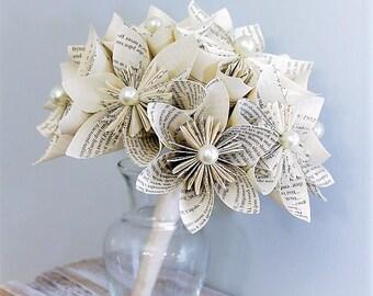 Wedding Bouquet, Book Page Bouquet, Kusudama Bouquet, Pearl Bouquet, Unique Bouquet, Wedding Flowers, Paper Bouquet, Handmade Bouquet
