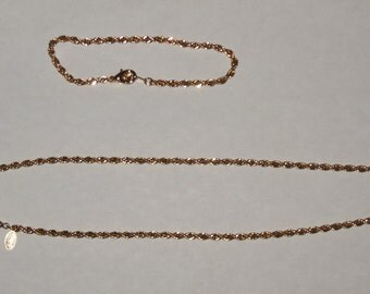 Vintage Gold Tone Necklace and Bracelet Set Braided 18 Inch Chain American Showcase