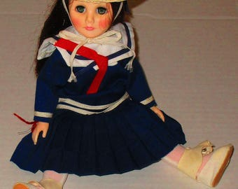 Vintage Effanbee Doll Navy Blue Pleated Sailor Dress Outfit 11 Inches with Hat
