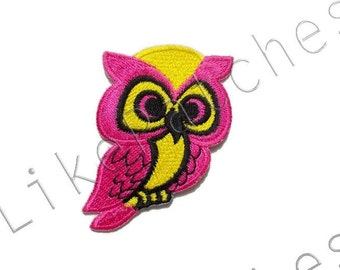 Owl Patch - Pink / Yellow Super Cute Owl New Sew / Iron On Patch Embroidered Applique Size 5cm.x6.5cm.