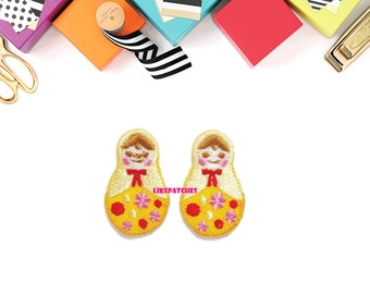Set 2pcs. Mini Matryoshka Russian Doll New Sew on / Iron On Patch Embroidered Applique Size 1.9cm.x3.1cm.