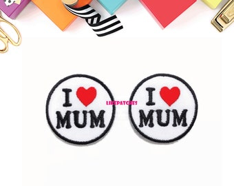 Set 2pcs. I Love MUM White Circle Red Heart New Sew / Iron On Patch Embroidered Applique Size 4.1cm.x4.1cm.
