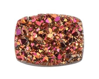 Copper Pink Drusy Quartz Loose Gemstone Cushion Cabochon 1A Quality 8x6mm TGW 0.90 cts.