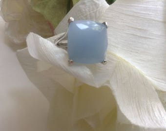 "Vintage Blue Lucite Ring Size 6 "" Something Blue"" Summer 80s Costume Runway Fun Resort Collectible Prom Retro Boho Collectible Gift"