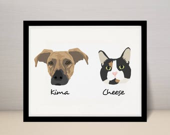 "5"" X 7"" Custom Pet Portrait Illustration, Dog Portrait, 2 dogs on 5x7 print"