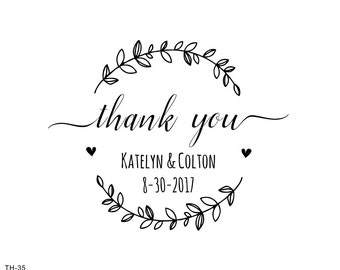 thank you stamp-wreath stamp -Custom Wedding Stamp,custom thank you gift-  Wedding FAVOR Stamp - Calligraphy