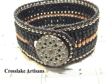 Five-row cuff bracelet with copper, black and silver seed beads