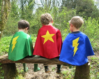Blue Super Hero Lightening Bolt Cape, Children's