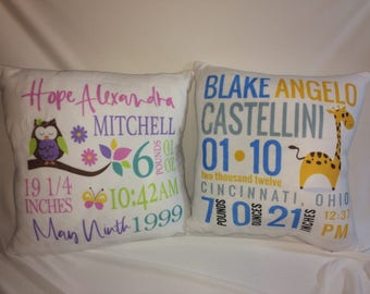 Personalized Fleece  Birth Block Pillows