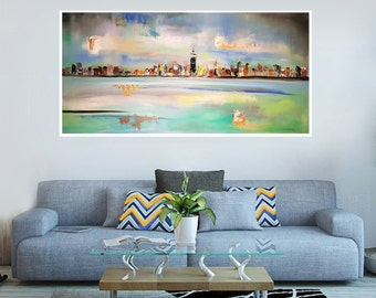 Manhattan day skyline, New York day painting, NYC skyline sunlight, NY skyline painting