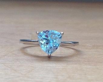 Trillion-cut blue topaz sterling silver ring
