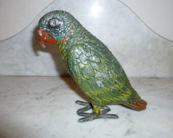 Antique Austrian cold painted polychrome metal sculpture of parrot circa 1900
