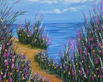 Paintings for Sale, Original Art, Canvas Art, One Path, Impressionism art, Ocean beach, Wildflowers on beach, Modern Art, Wall Art