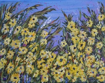 Original Painting, Abstract Floral, Yellow Flowers, Art by Artist, Small Painting, Black Eyed Susans, Canvas Art