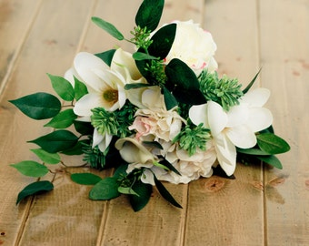 Spring Magnolia Silk Wedding Bouquet with Hydrangea, Roses and Calla Lilly - Bride Bouqeuet