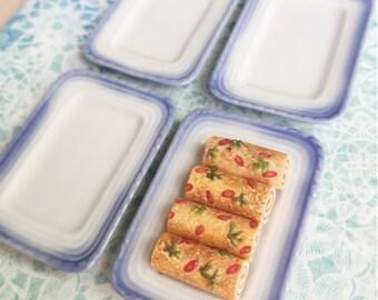 2 Miniature Ceramic Tray, Miniature Tray,Miniature food Tray,Dollhouse Tray,Ceramic tray,Dollhouse food tray,Miniature sweet