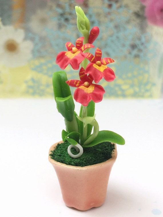 Miniature Flower,Miniature Flower Pot,Miniature Orchid,Dollhouse Flower,Miniature Garden,Dollhouse Orchid,Red Orchid