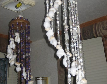 White Pearlescent Spiral Windchime w/seashells/crystals&stones..Sparkles as it Spins..'handmade by me'