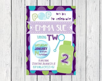 2nd Birthday -Bubbles Personalized Birthday invitation ***Digital File***  (Bubbles-Purple)