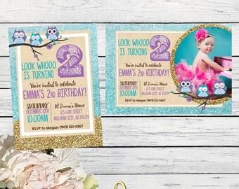 Owl birthday invitation- Burlap & Glitter ***Digital File*** (OWL-GLITTER)