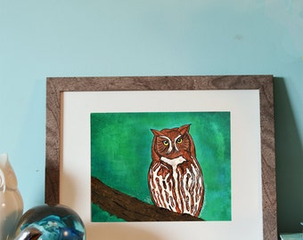 "Red Morph Eastern Screech-Owl 8x10"" limited edition print"