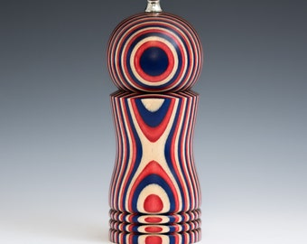 """Colorful, Handmade 6"""" Peppermill - Laminated red, white and blue"""