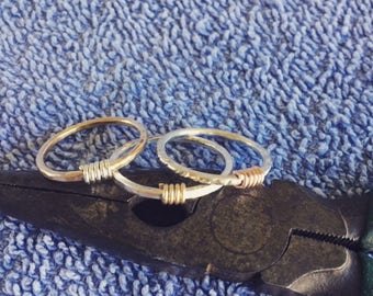 Wire wrapped stackable rings