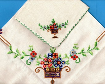 Vintage Antique Victorian Luncheon Tablecloth Linen Cross Stitch Embroidered and Napkins Set Square Flower Baskets