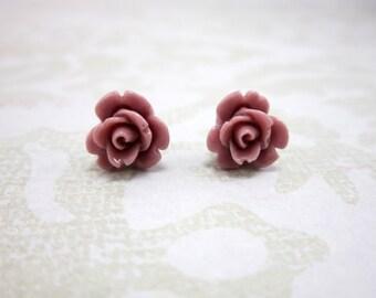 Mauve Earrings, rose stud earrings, mauve studs, pink rose stud earrings, rose post earrings, rose studs, romantic studs, woodland, E10169