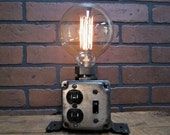 Industrial Desk Lamp - Charging Station - Cell Phone Charger - Edison Bulb - Gift for Men - Steampunk Lamp- Office Decor - Table Lamp
