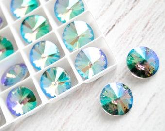 2pcs 12 mm Swarovski Crystal Rivoli Stone 1122 Paradise Shine