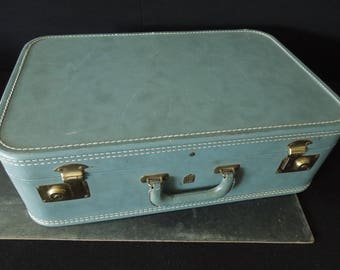 Old Blue Suitcase - Vintage Luggage Storage Compartment Prop - Repurpose Upcycle Travel Bag - US Trunk Co.