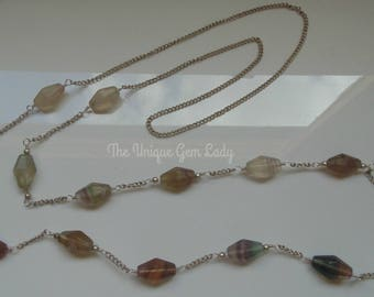 Rainbow Fluorite Bead Beaded Long Wire Wrapped Silver Necklace ~ Hand Crafted Ooak ~ Gemstone Crystal Healing