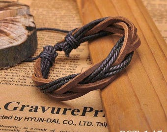 Brown Leather and Hemp Bracelet, Woven Leather Wrist Bracelet, Fashion Braclet  BST-145