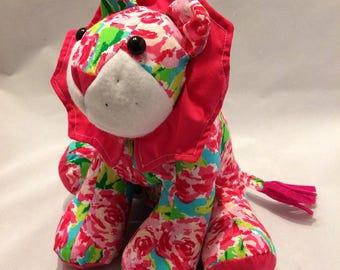 Pink floral stuffed lion/plush lion