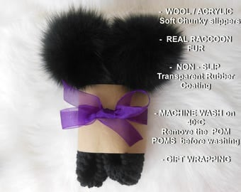Furry Slippers, Black Slippers, Raccoon Fur, Huge Pom Poms, Wool Slippers, Non-Slip Slippers, Gift Wrapped, Home Shoes, Knitted Slippers