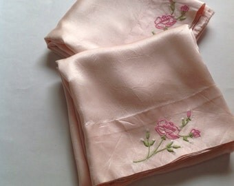 2- 1940's Pillowcases Peach Satin, Hand Embroidered Floral, Pink, Bed Linen, Sheets, Vintage  Pillowcase