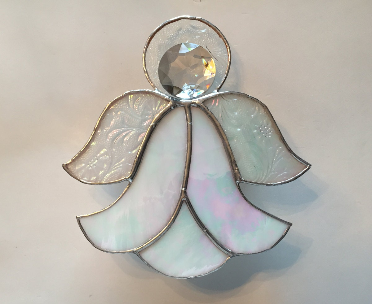 Handmade Stained Glass Iridescent Angel Christmas Tree Topper