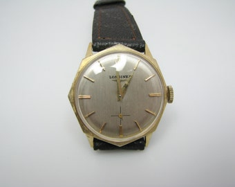 A039 Handsome Octagon Shaped 1960's Longines Watch in 14k Yellow Gold