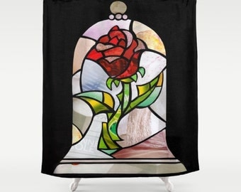 Mother's day gift, Enchanted Rose Shower Curtain, Beauty and the Beast Bathroom Curtain, Bathroom Decor, Beauty and the beast Accessories