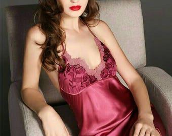 100% silk slip-embroidered silk slip-nightdress-luxurious pure silk dress-low back dress-floral dress-sleeveless dress