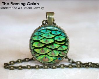DRAGON SCALES Pendant •  Green Dragon Scales •  Blue Green Scales •  Dragon Accessories • Gift Under 20 • Made in Australia (P0984)